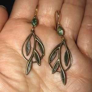Dark leaf/branch earrings with green bead